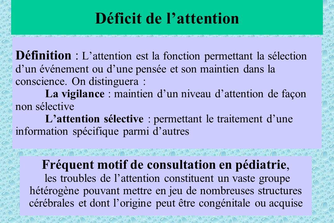Définition : Lattention est la fonction permettant la sélection dun événement ou dune pensée et son maintien dans la conscience. On distinguera : La v