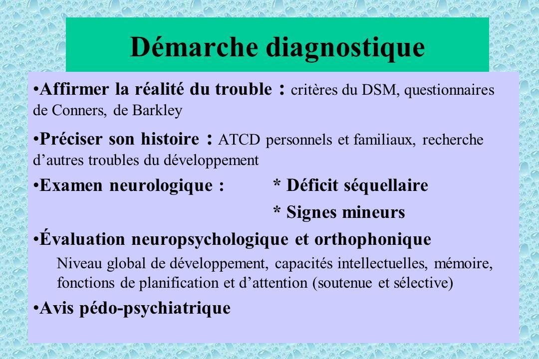 Démarche diagnostique Affirmer la réalité du trouble : critères du DSM, questionnaires de Conners, de Barkley Préciser son histoire : ATCD personnels