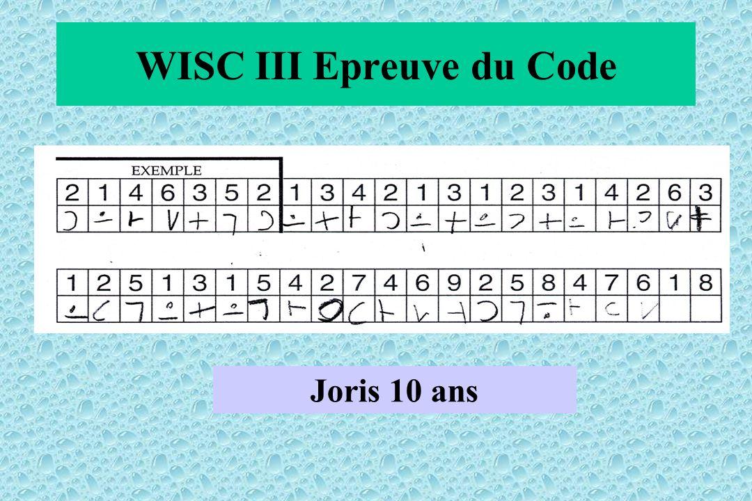 WISC III Epreuve du Code Joris 10 ans