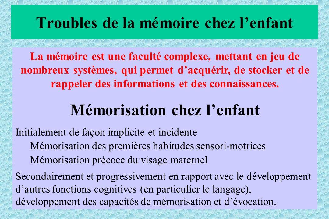 La mémoire est une faculté complexe, mettant en jeu de nombreux systèmes, qui permet dacquérir, de stocker et de rappeler des informations et des connaissances.