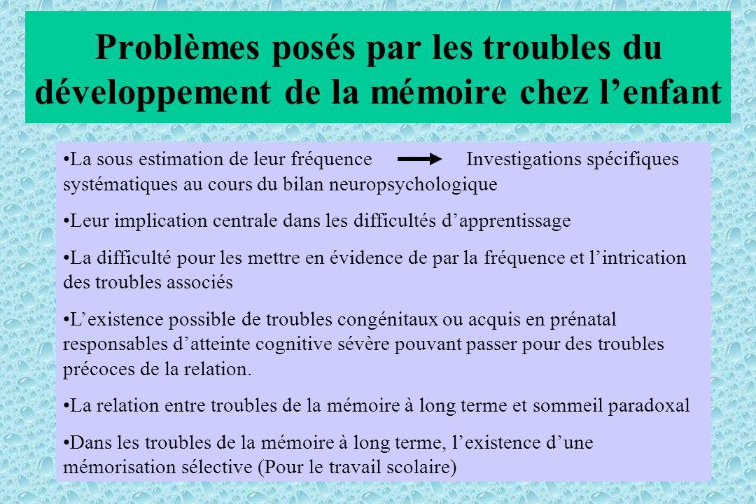 Problèmes posés par les troubles du développement de la mémoire chez lenfant La sous estimation de leur fréquenceInvestigations spécifiques systématiq