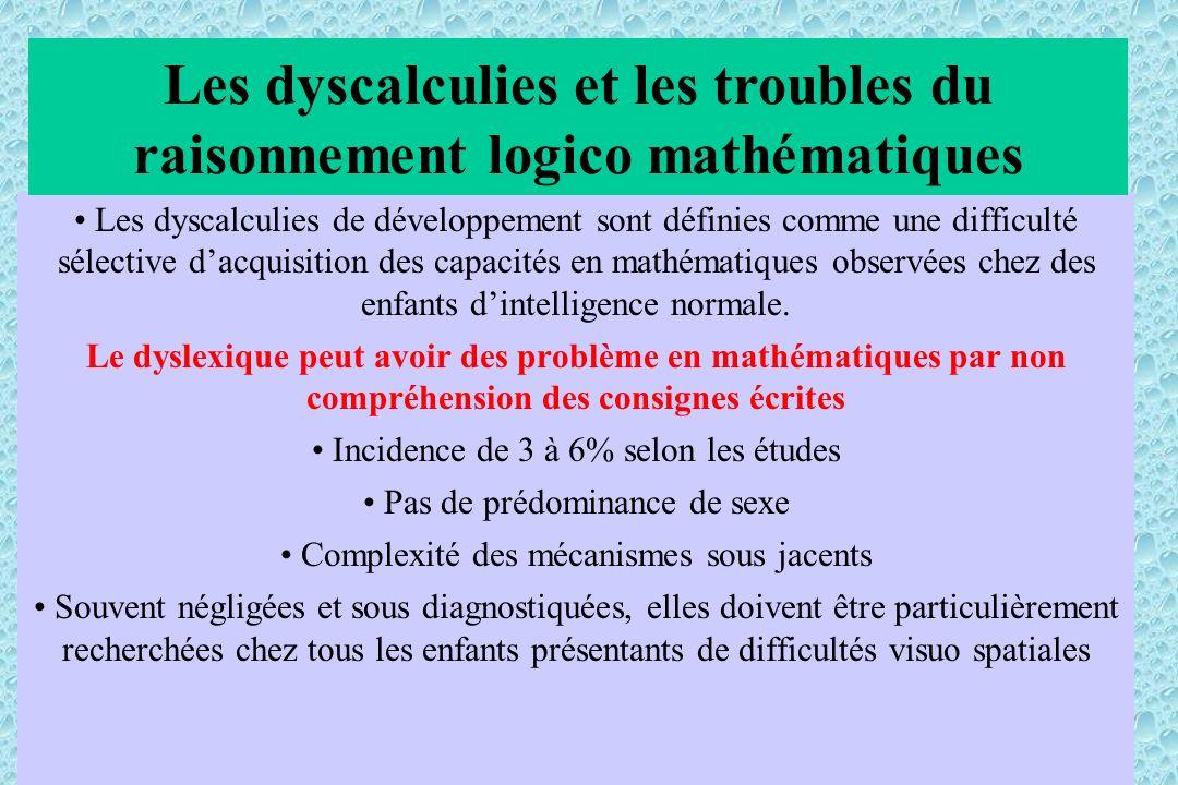 Les dyscalculies de développement sont définies comme une difficulté sélective dacquisition des capacités en mathématiques observées chez des enfants