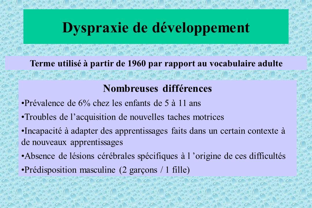 Dyspraxie de développement Terme utilisé à partir de 1960 par rapport au vocabulaire adulte Nombreuses différences Prévalence de 6% chez les enfants d