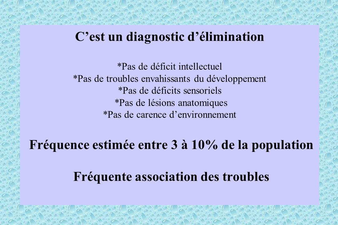 Cest un diagnostic délimination *Pas de déficit intellectuel *Pas de troubles envahissants du développement *Pas de déficits sensoriels *Pas de lésion