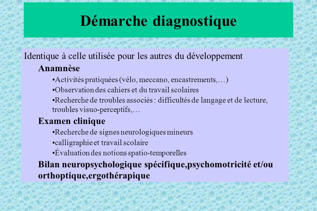 Démarche diagnostique Identique à celle utilisée pour les autres du développement Anamnèse Activités pratiquées (vélo, meccano, encastrements,…) Obser