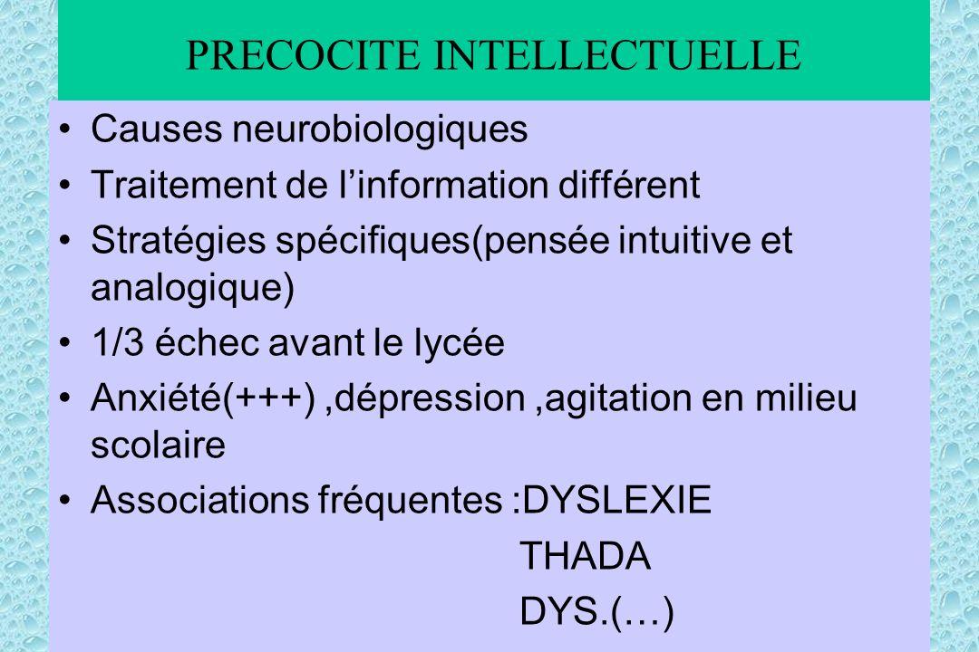 PRECOCITE INTELLECTUELLE Causes neurobiologiques Traitement de linformation différent Stratégies spécifiques(pensée intuitive et analogique) 1/3 échec