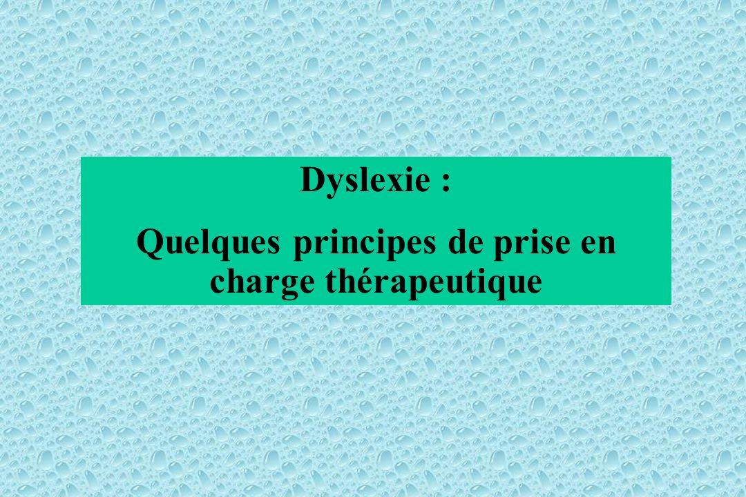Dyslexie : Quelques principes de prise en charge thérapeutique
