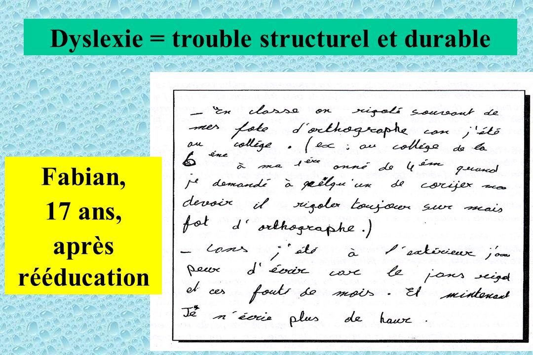 Fabian, 17 ans, après rééducation Dyslexie = trouble structurel et durable