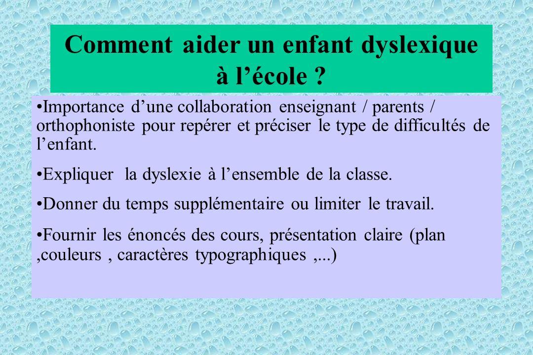 Comment aider un enfant dyslexique à lécole ? Importance dune collaboration enseignant / parents / orthophoniste pour repérer et préciser le type de d