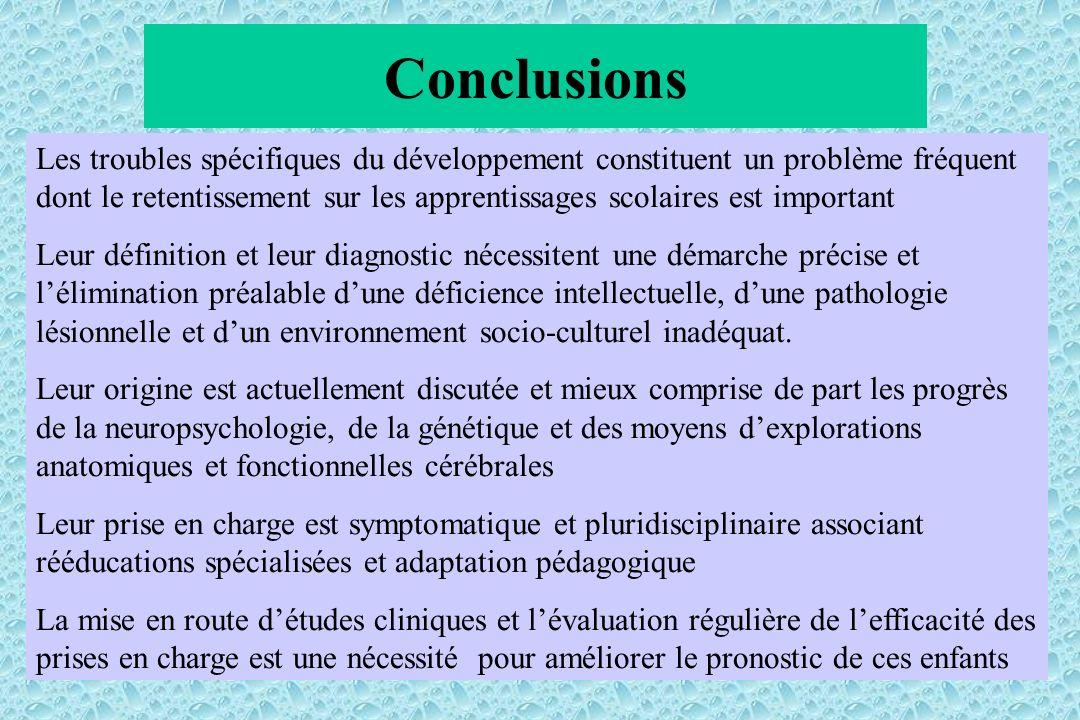 Conclusions Les troubles spécifiques du développement constituent un problème fréquent dont le retentissement sur les apprentissages scolaires est imp