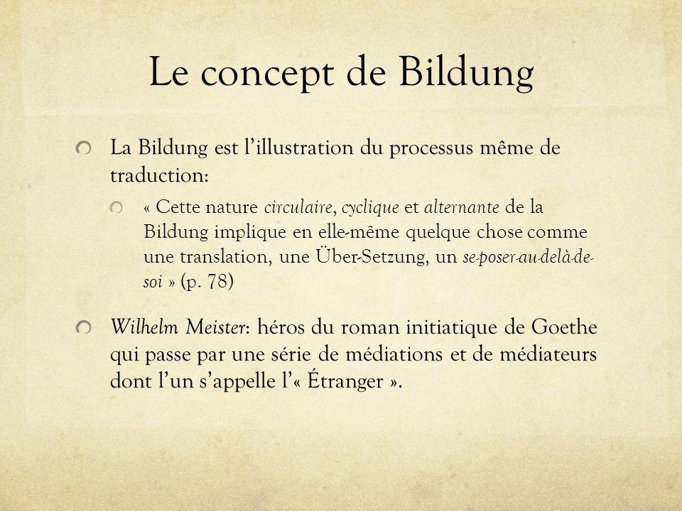 Le concept de Bildung La Bildung est lillustration du processus même de traduction: « Cette nature circulaire, cyclique et alternante de la Bildung im