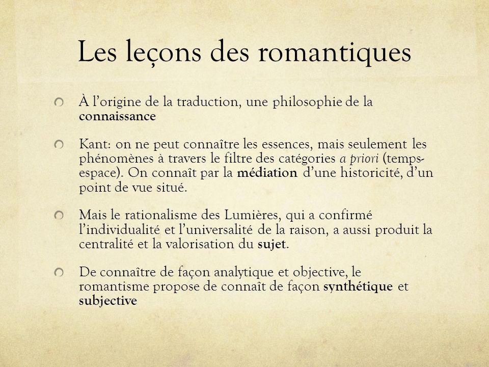 Les leçons des romantiques À lorigine de la traduction, une philosophie de la connaissance Kant: on ne peut connaître les essences, mais seulement les