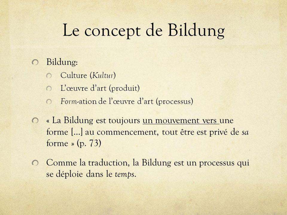 Le concept de Bildung Bildung: Culture ( Kultur ) Lœuvre dart (produit) Form -ation de lœuvre dart (processus) « La Bildung est toujours un mouvement
