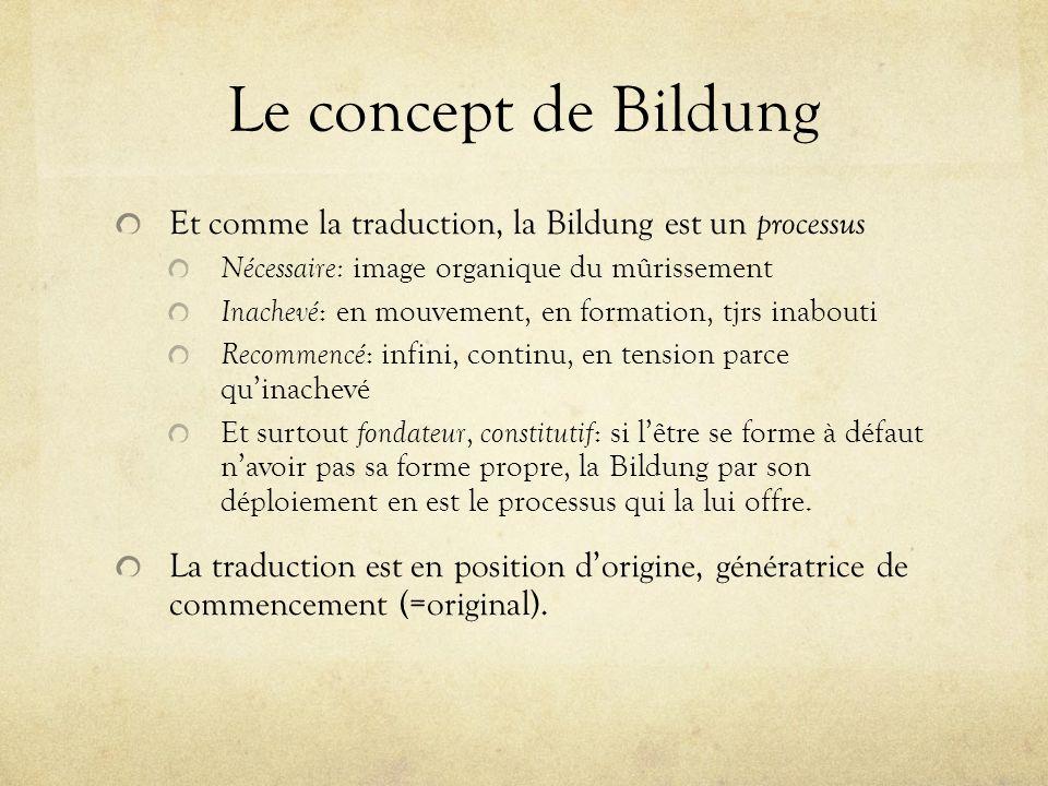 Le concept de Bildung Et comme la traduction, la Bildung est un processus Nécessaire: image organique du mûrissement Inachevé : en mouvement, en forma