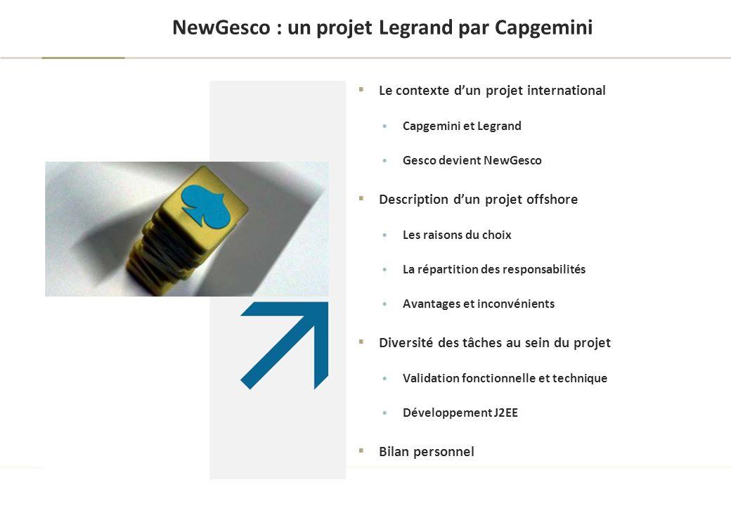 NewGesco : un projet Legrand par Capgemini Le contexte dun projet international Capgemini et Legrand Gesco devient NewGesco Description dun projet off