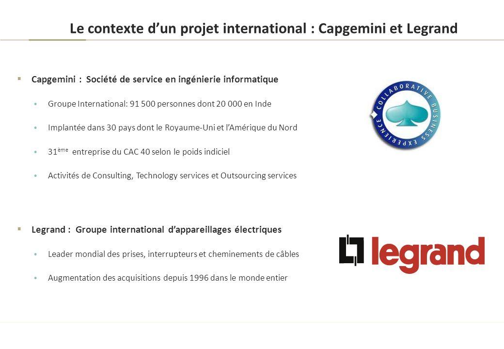 Le contexte dun projet international : Capgemini et Legrand Capgemini : Société de service en ingénierie informatique Groupe International: 91 500 per