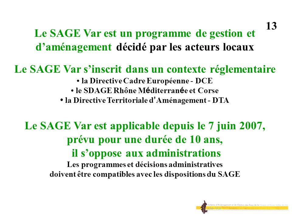 Le SAGE Var est un programme de gestion et daménagement décidé par les acteurs locaux Le SAGE Var sinscrit dans un contexte réglementaire la Directive
