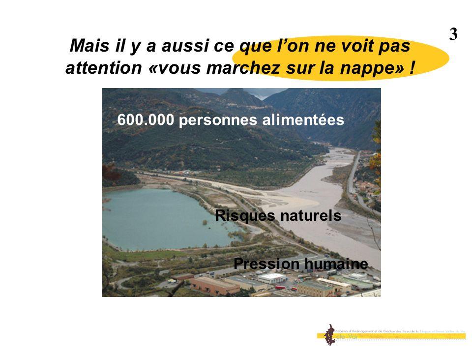 Mais il y a aussi ce que lon ne voit pas attention «vous marchez sur la nappe» ! 3 600.000 personnes alimentées Pression humaine Risques naturels