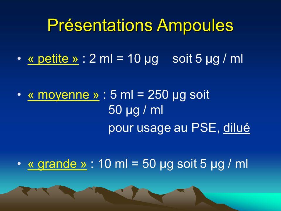 Présentations Ampoules « petite » : 2 ml = 10 µg soit 5 µg / ml « moyenne » : 5 ml = 250 µg soit 50 µg / ml pour usage au PSE, dilué « grande » : 10 m