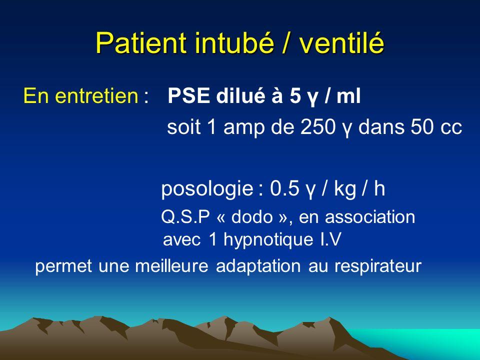 Patient intubé / ventilé En entretien : PSE dilué à 5 γ / ml soit 1 amp de 250 γ dans 50 cc posologie : 0.5 γ / kg / h Q.S.P « dodo », en association