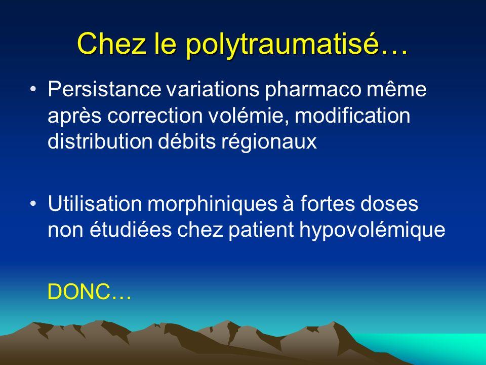 Chez le polytraumatisé… Persistance variations pharmaco même après correction volémie, modification distribution débits régionaux Utilisation morphini
