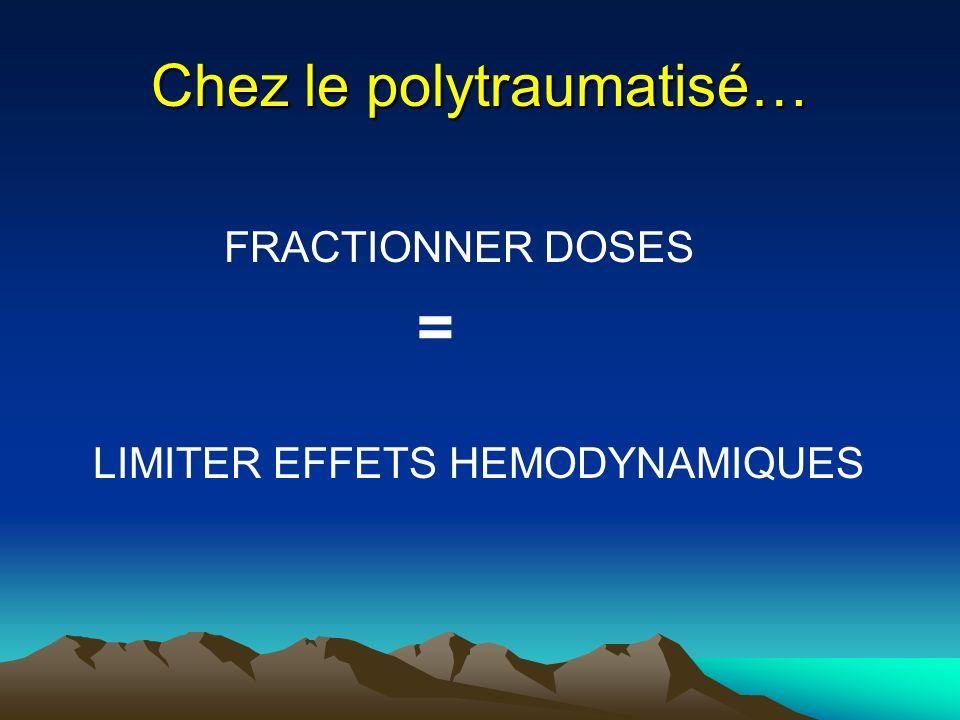 Chez le polytraumatisé… FRACTIONNER DOSES = LIMITER EFFETS HEMODYNAMIQUES