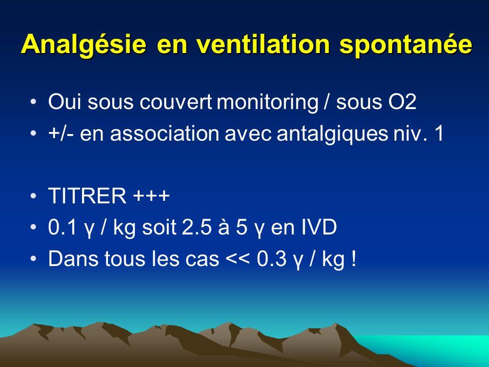 Analgésie en ventilation spontanée Oui sous couvert monitoring / sous O2 +/- en association avec antalgiques niv. 1 TITRER +++ 0.1 γ / kg soit 2.5 à 5