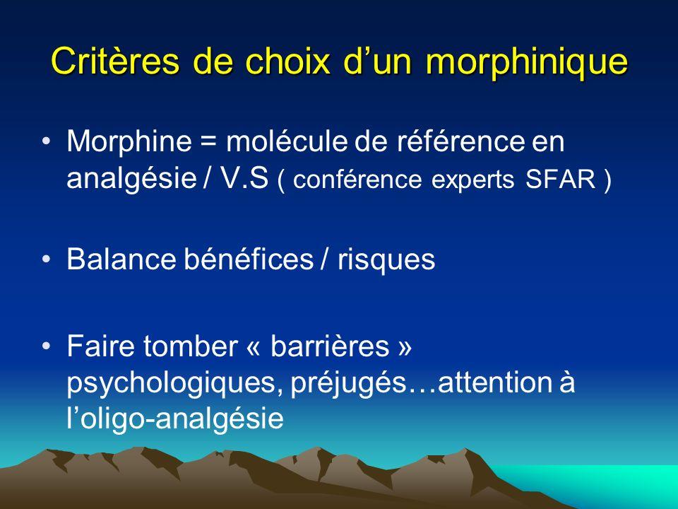 Critères de choix dun morphinique Morphine = molécule de référence en analgésie / V.S ( conférence experts SFAR ) Balance bénéfices / risques Faire to