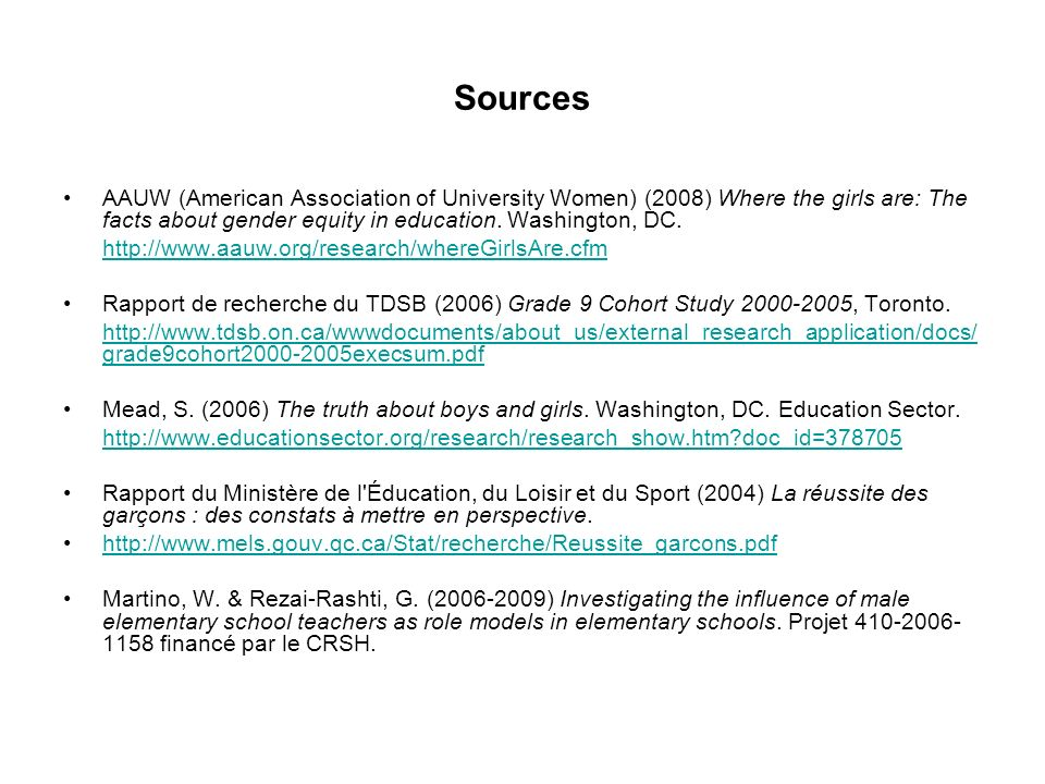 Sources AAUW (American Association of University Women) (2008) Where the girls are: The facts about gender equity in education.