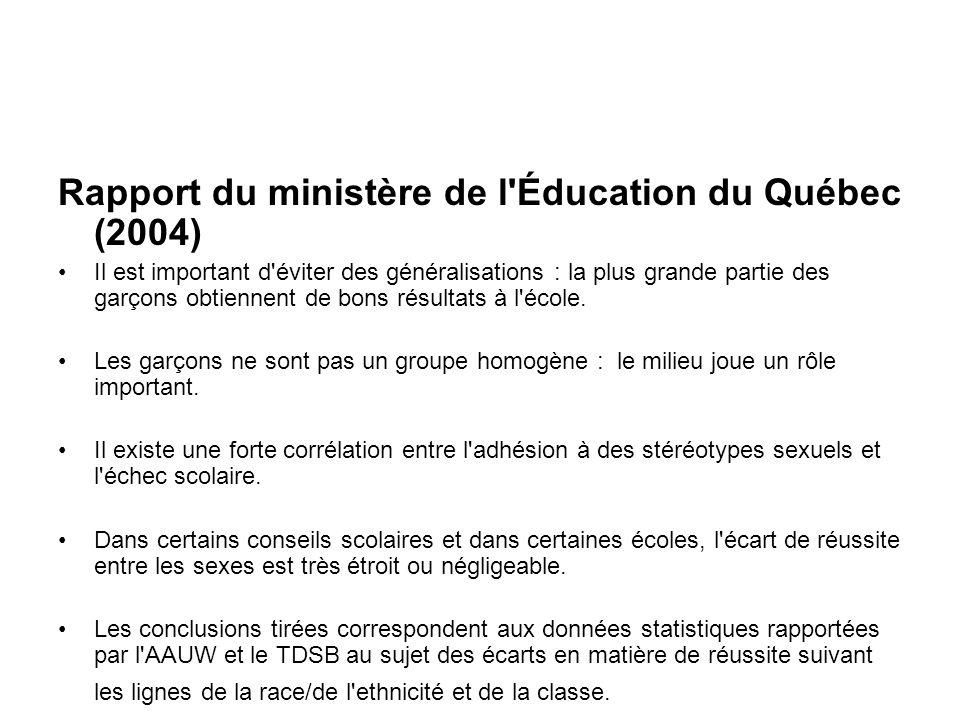 Rapport du ministère de l Éducation du Québec (2004) Il est important d éviter des généralisations : la plus grande partie des garçons obtiennent de bons résultats à l école.