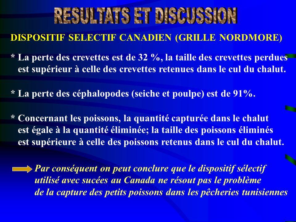 DISPOSITIF SELECTIF CANADIEN (GRILLE NORDMORE) * La perte des crevettes est de 32 %, la taille des crevettes perdues est supérieur à celle des crevett