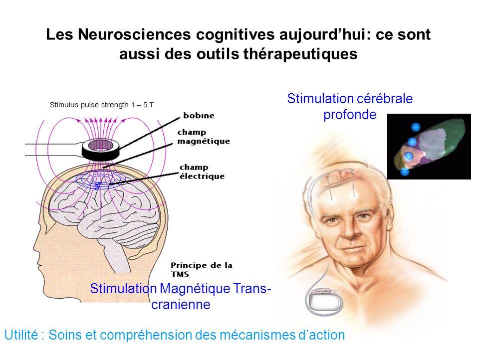 Les Neurosciences cognitives aujourdhui: ce sont aussi des outils thérapeutiques Stimulation cérébrale profonde Utilité : Soins et compréhension des m