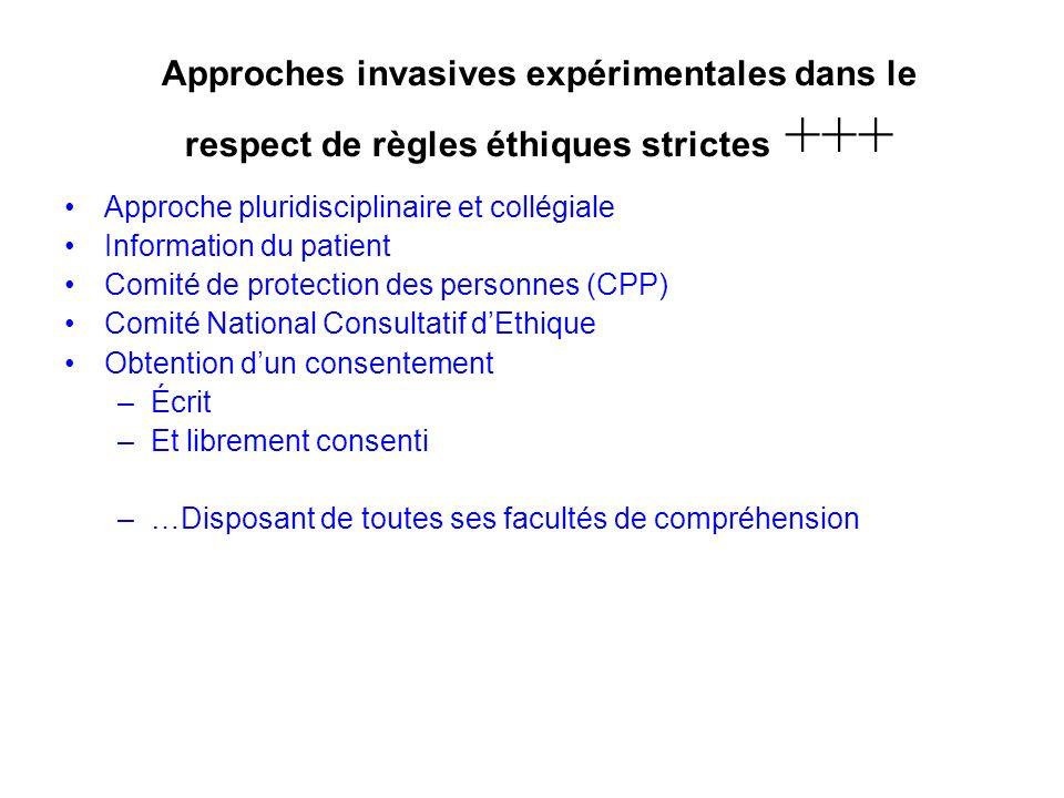 Approches invasives expérimentales dans le respect de règles éthiques strictes +++ Approche pluridisciplinaire et collégiale Information du patient Co