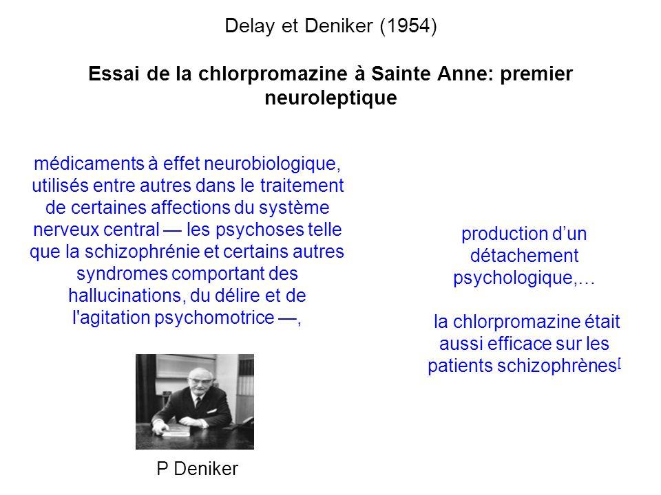 Delay et Deniker (1954) Essai de la chlorpromazine à Sainte Anne: premier neuroleptique médicaments à effet neurobiologique, utilisés entre autres dan