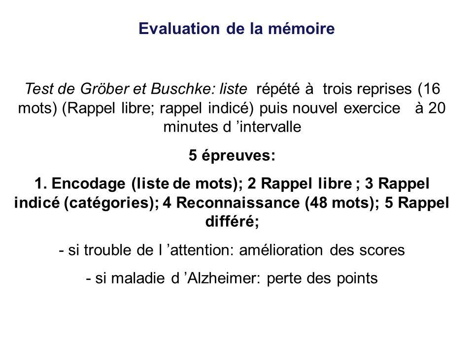Evaluation de la mémoire Test de Gröber et Buschke: liste répété à trois reprises (16 mots) (Rappel libre; rappel indicé) puis nouvel exercice à 20 mi