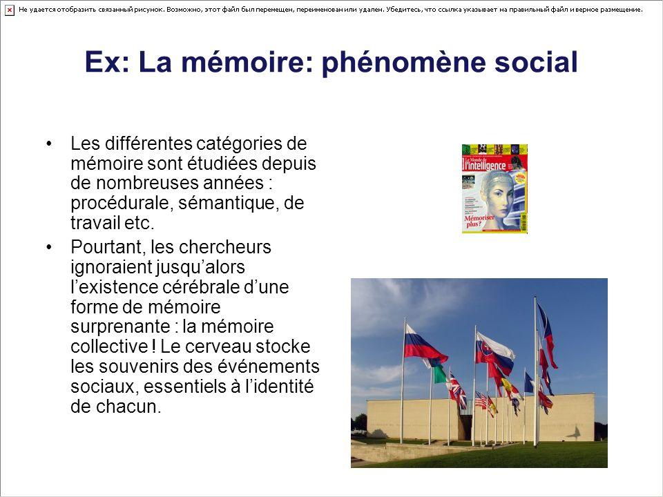 Ex: La mémoire: phénomène social Les différentes catégories de mémoire sont étudiées depuis de nombreuses années : procédurale, sémantique, de travail