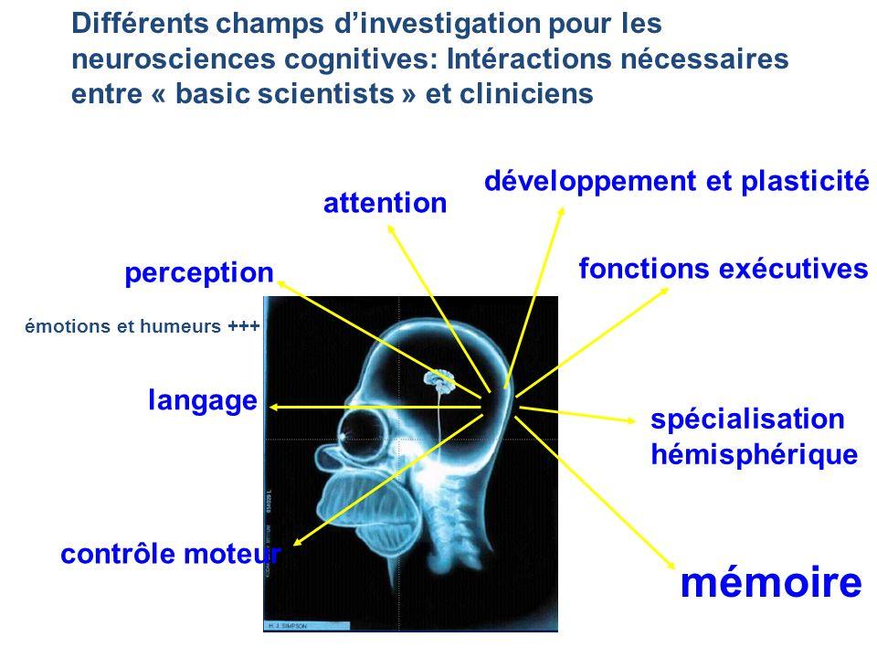 Différents champs dinvestigation pour les neurosciences cognitives: Intéractions nécessaires entre « basic scientists » et cliniciens perception atten