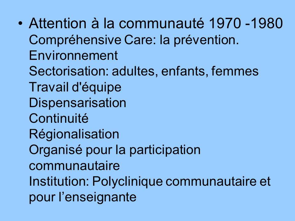 Attention à la communauté 1970 -1980 Compréhensive Care: la prévention.