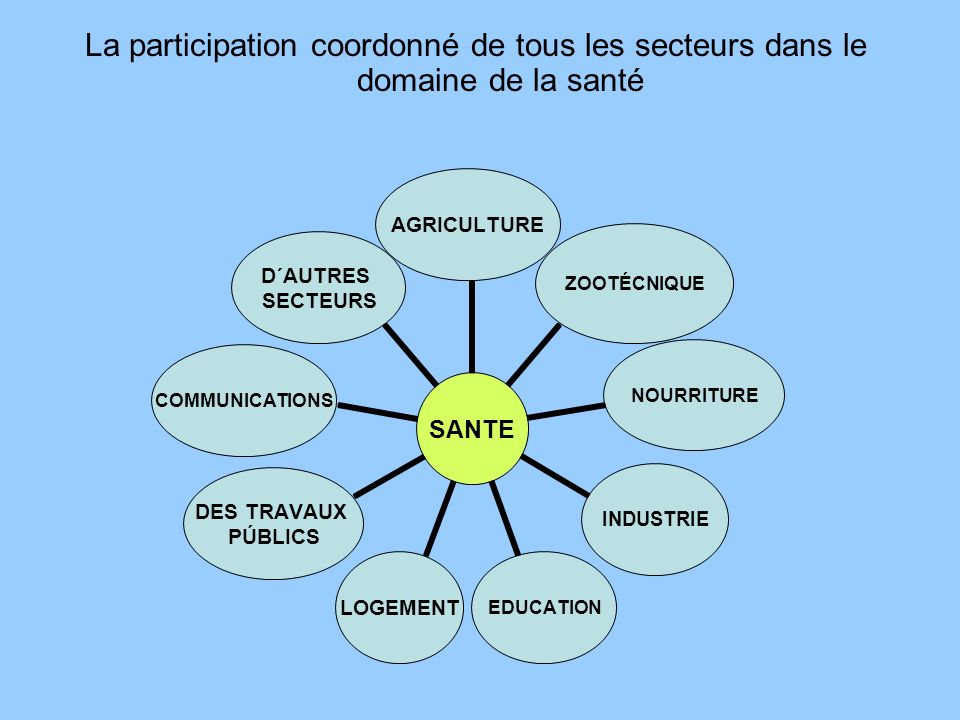 La participation coordonné de tous les secteurs dans le domaine de la santé SANTE AGRICULTUREZOOTÉCNIQUENOURRITUREINDUSTRIEEDUCATIONLOGEMENT DES TRAVAUX PÚBLICS COMMUNICATIONS D´AUTRES SECTEURS
