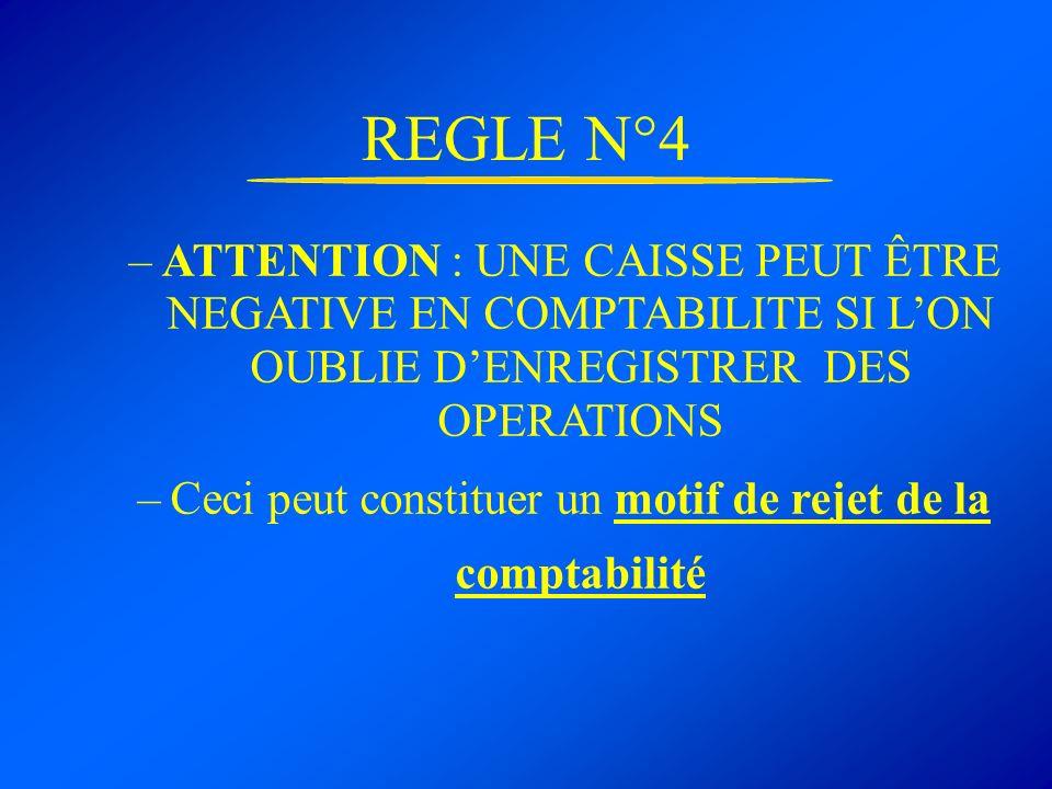 REGLE N°4 –ATTENTION : UNE CAISSE PEUT ÊTRE NEGATIVE EN COMPTABILITE SI LON OUBLIE DENREGISTRER DES OPERATIONS –Ceci peut constituer un motif de rejet
