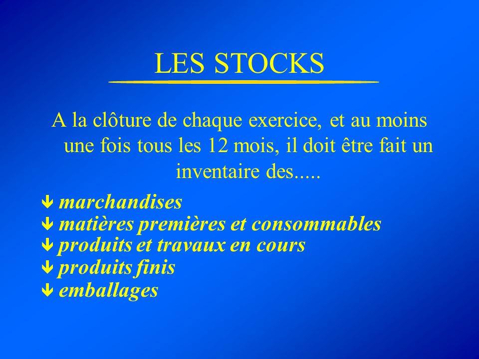LES STOCKS A la clôture de chaque exercice, et au moins une fois tous les 12 mois, il doit être fait un inventaire des..... marchandises matières prem