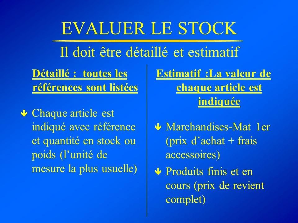 EVALUER LE STOCK Il doit être détaillé et estimatif Détaillé : toutes les références sont listées Chaque article est indiqué avec référence et quantit