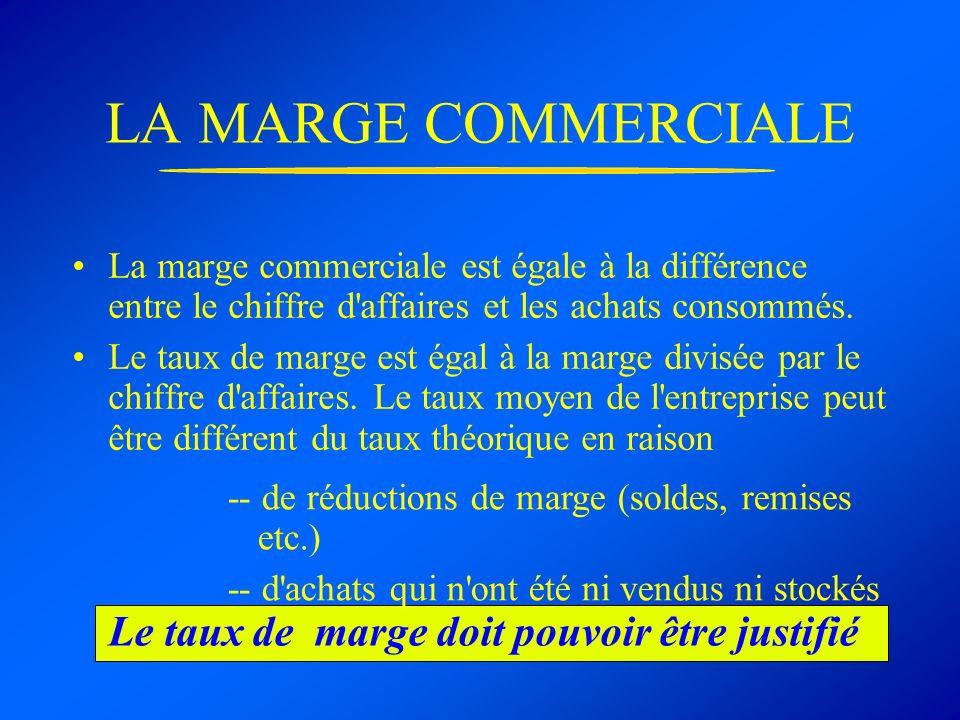 LA MARGE COMMERCIALE La marge commerciale est égale à la différence entre le chiffre d'affaires et les achats consommés. Le taux de marge est égal à l