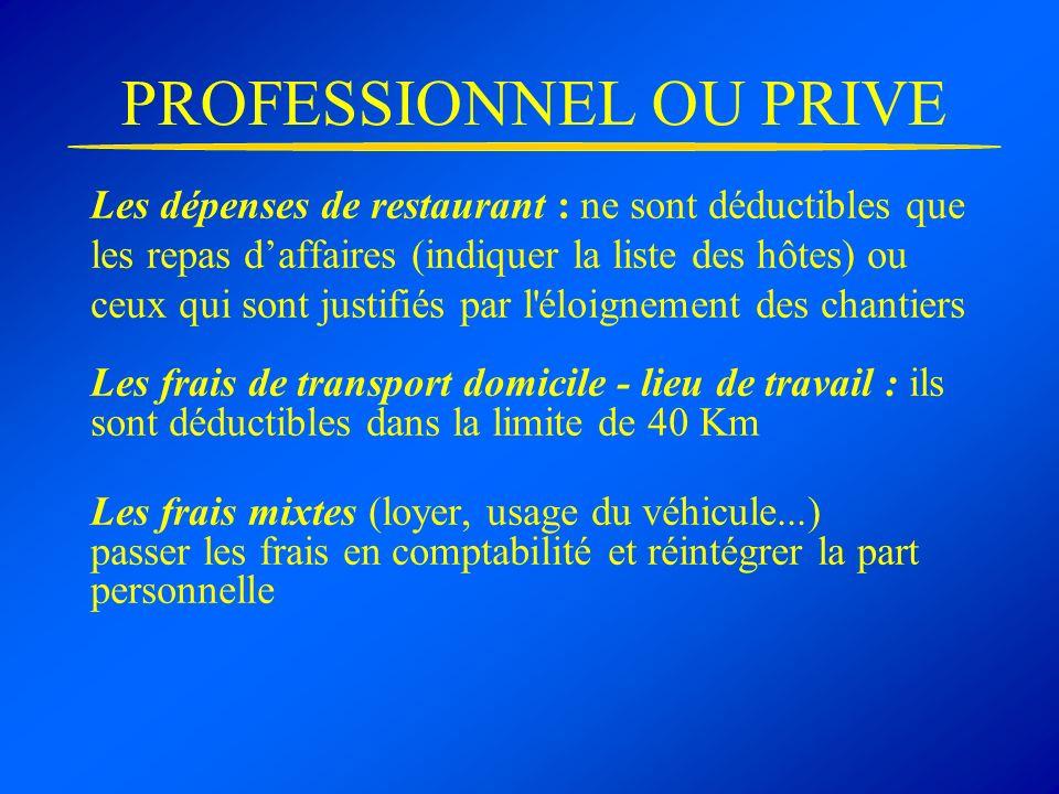 PROFESSIONNEL OU PRIVE Les dépenses de restaurant : ne sont déductibles que les repas daffaires (indiquer la liste des hôtes) ou ceux qui sont justifi