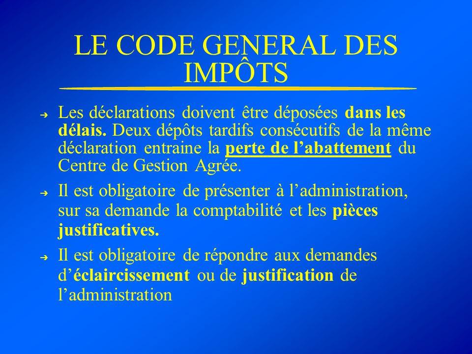 LE CODE GENERAL DES IMPÔTS Les déclarations doivent être déposées dans les délais. Deux dépôts tardifs consécutifs de la même déclaration entraine la