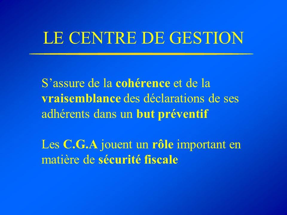 LE CENTRE DE GESTION Sassure de la cohérence et de la vraisemblance des déclarations de ses adhérents dans un but préventif Les C.G.A jouent un rôle important en matière de sécurité fiscale