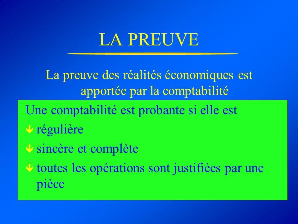 LA PREUVE La preuve des réalités économiques est apportée par la comptabilité Une comptabilité est probante si elle est régulière sincère et complète