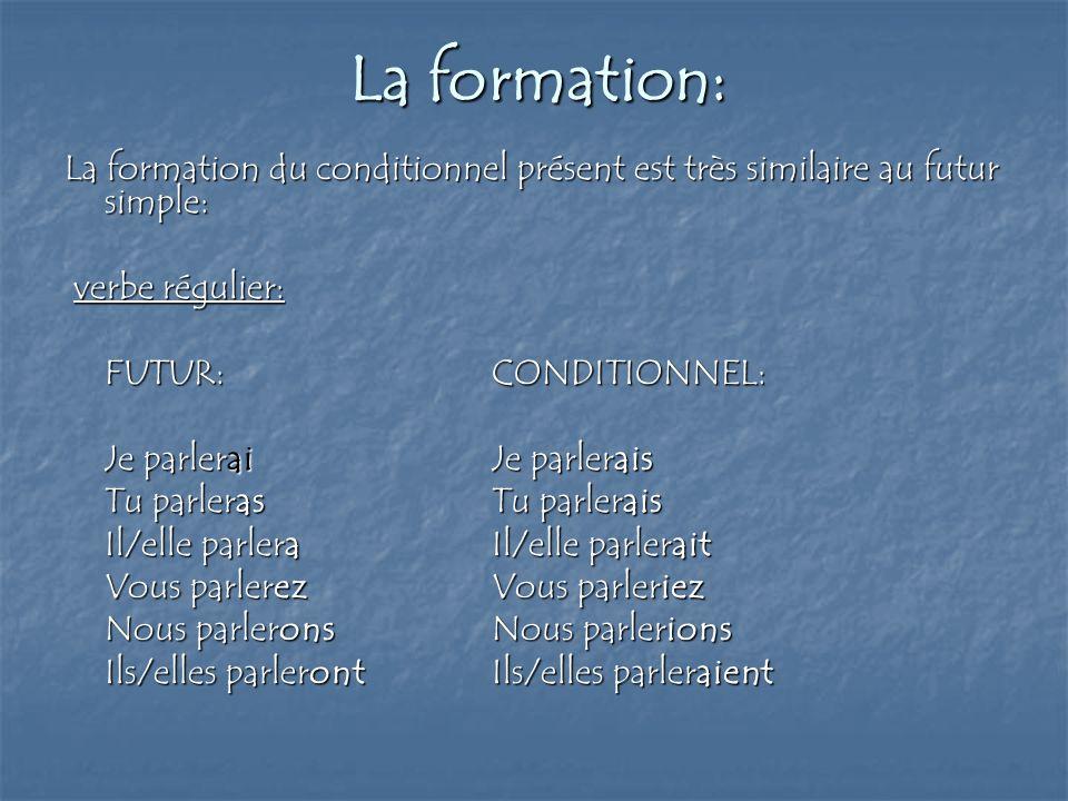 La formation: La formation du conditionnel présent est très similaire au futur simple: verbe régulier: verbe régulier: FUTUR:CONDITIONNEL: Je parlerai