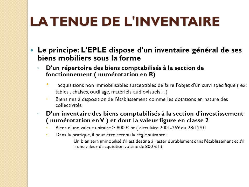 LA TENUE DE L'INVENTAIRE Le principe: L'EPLE dispose d'un inventaire général de ses biens mobiliers sous la forme D'un répertoire des biens comptabili