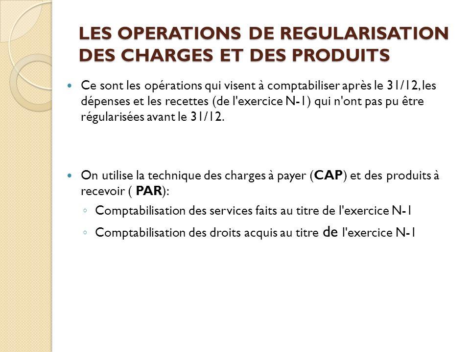 Ce sont les opérations qui visent à comptabiliser après le 31/12, les dépenses et les recettes (de l'exercice N-1) qui n'ont pas pu être régularisées